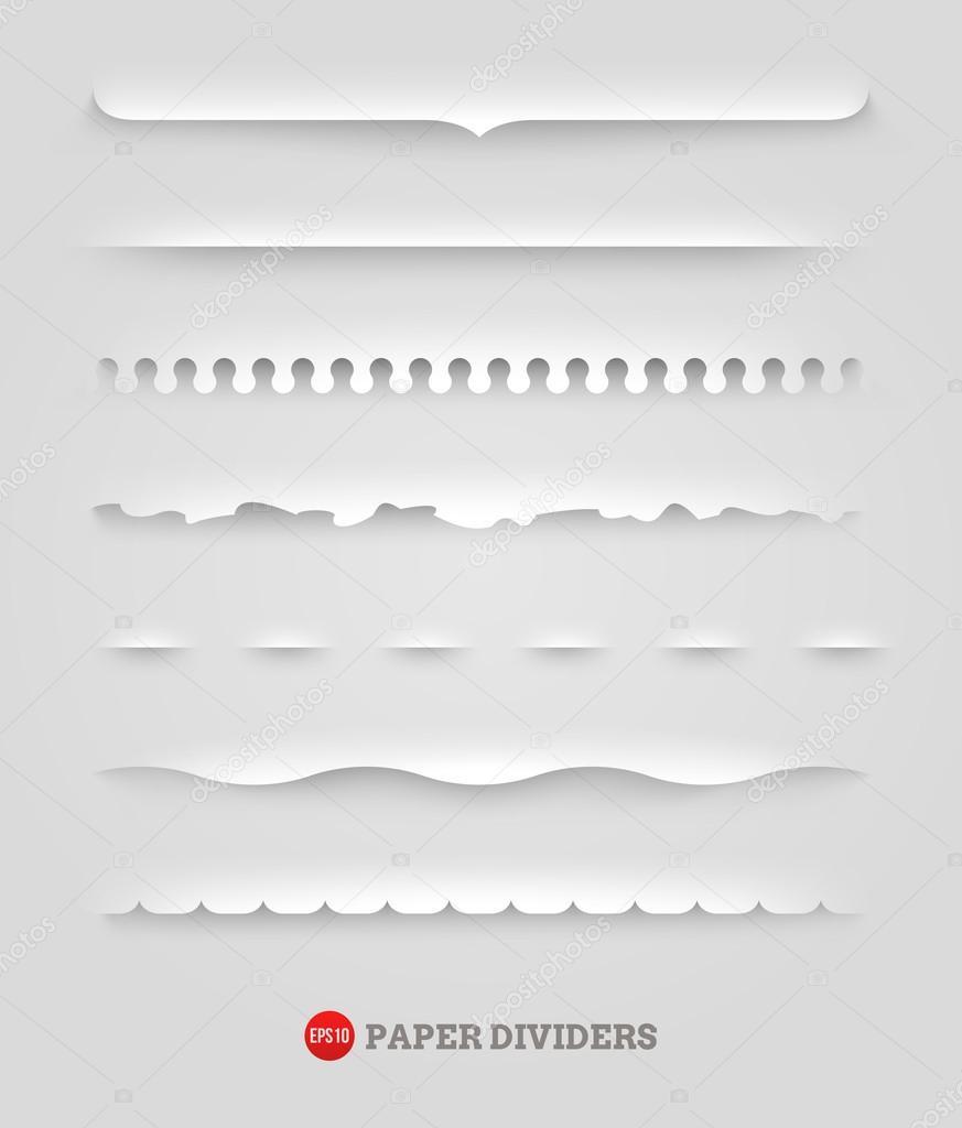 Vector set of paper decorative dividers