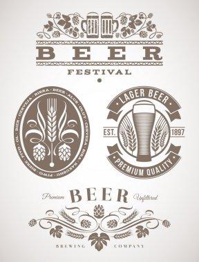 Beer emblems and labels - vector illustration