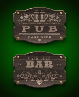 Vintage wooden signs for Pub and Bar - vector illustration