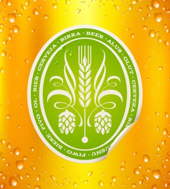 Beer label on beer background with drops - vector illustration