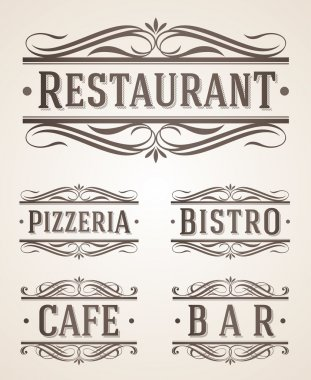 Vintage restaurant and cafe labels and signs - vector illustration
