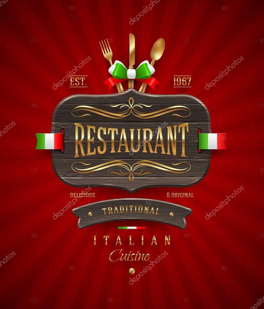 dekorativer Vintage Holz Zeichen für italienisches Restaurant mit ...