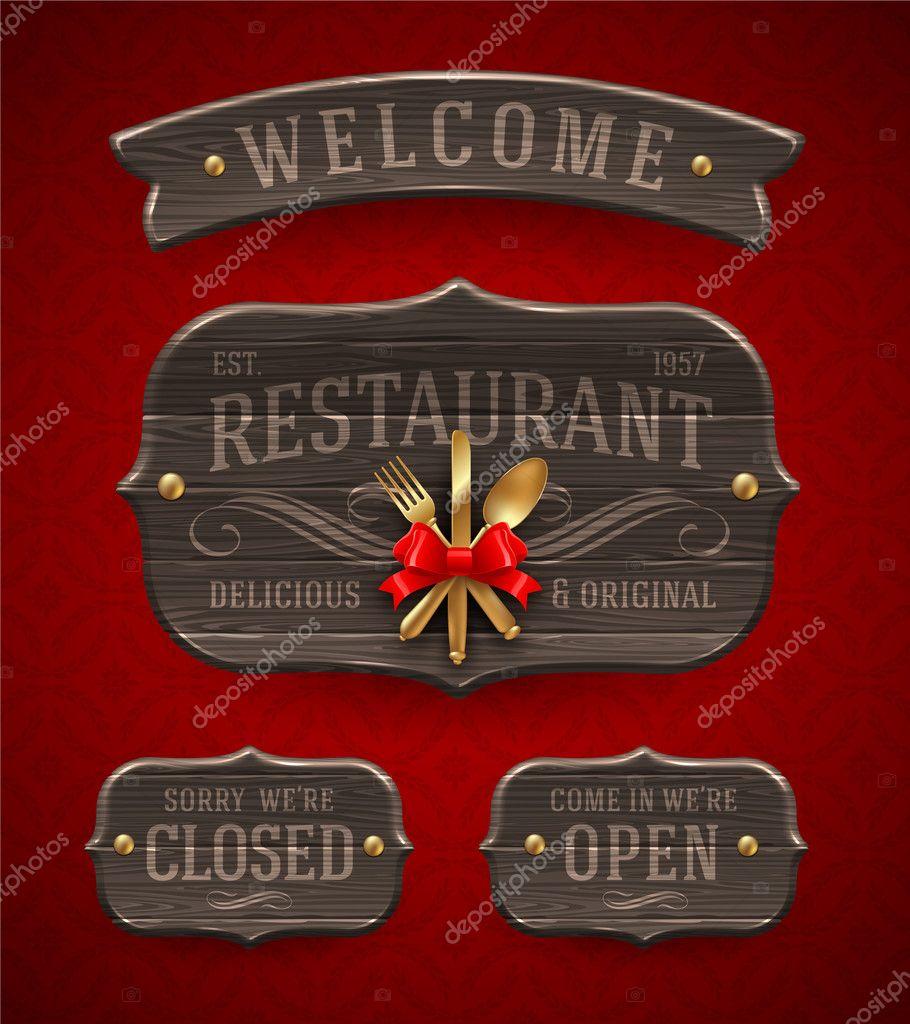 Vintage Holz Restaurant Zeichenvorrat mit Dekor und goldenen Besteck ...