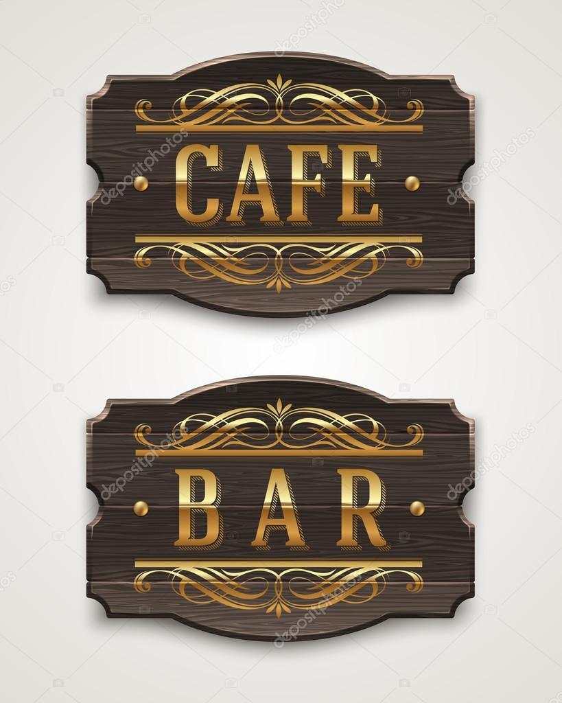 Signos de madera vintage para caf y bar con letras for Bar de madera vintage