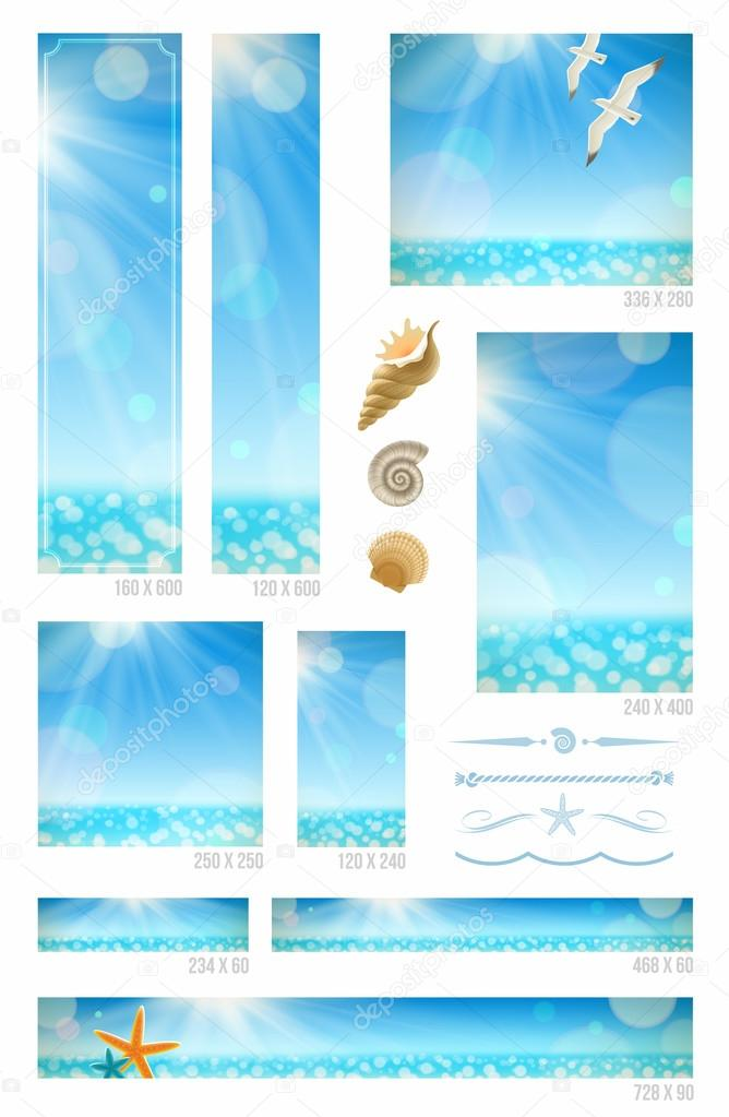 Sunny seascape backgrounds, sea animals and decorative dividers - set of standart vector web banners