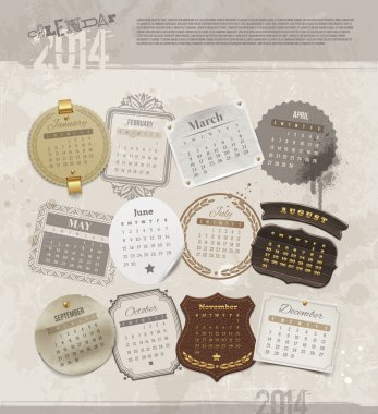 Vector design template with grunge vintage calendar of 2014 - different frames and labels for each month