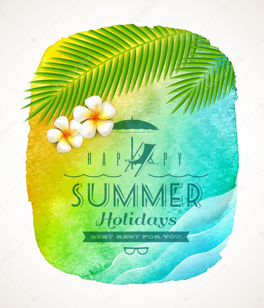 Summer holiday greeting - watercolor background banneer with sea waves, palm tree branches and frangipani flowers on shore - vector illustration