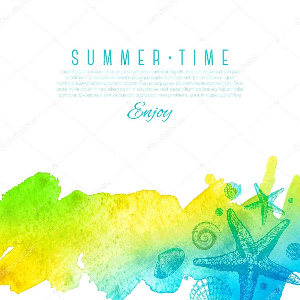 Summer vector design - hand drawn sea creatures on a watercolor background