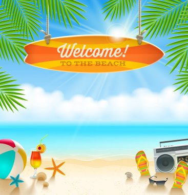 Beach things and old surfboard with greeting - summer holidays vector illustration clip art vector