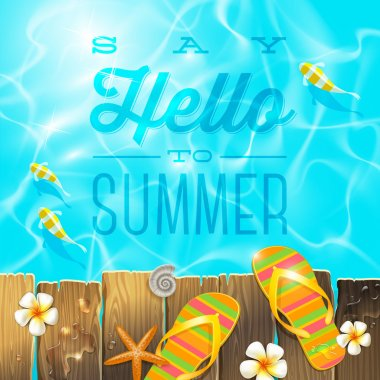 Flip-flop on old wooden plank platform over azure water with tropical fishes - vector illustration with summer holidays greeting