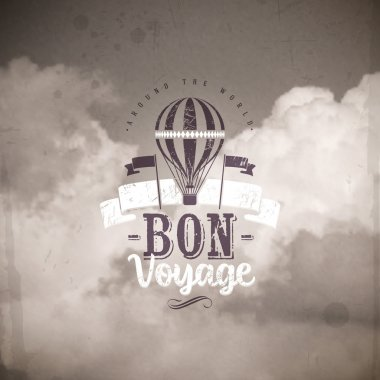 Vintage air balloon and type design against a clouds background
