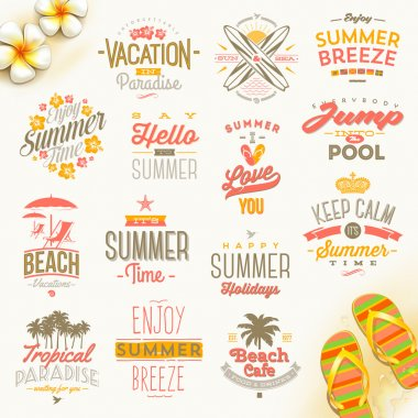 Vector set of summer holidays, vacation and travel  type design