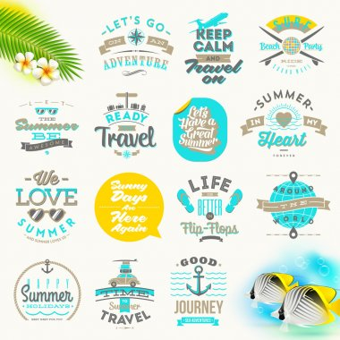 Vector set of summer vacation and travel  type design