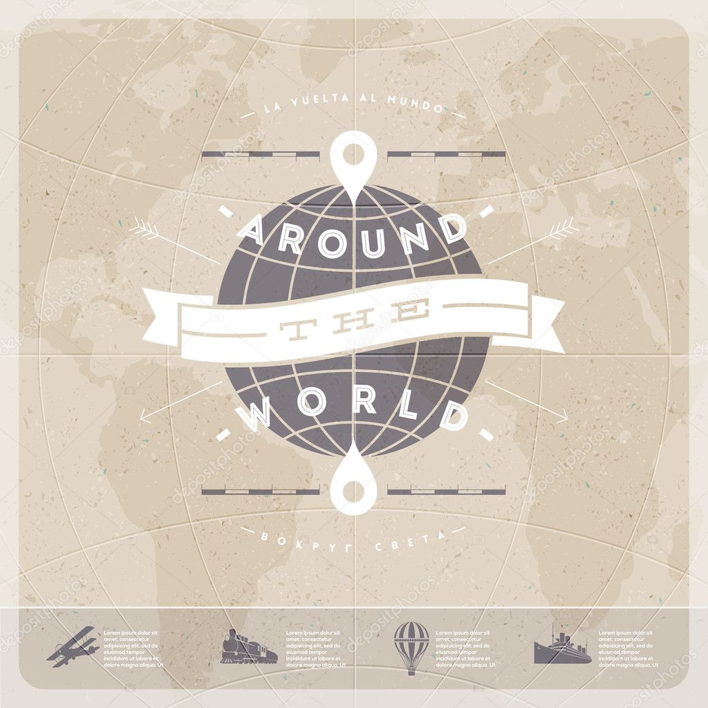 Around the world travel vintage type design with world map and old around the world travel vintage type design with world map and old transport stock gumiabroncs Images