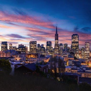 San Francisco skyline and Bay Bridge at sunset, California stock vector