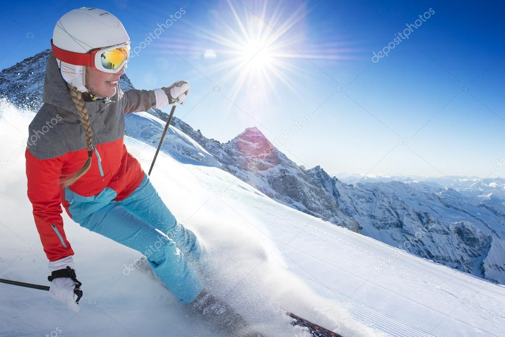 Girl On the Ski in alpen resort