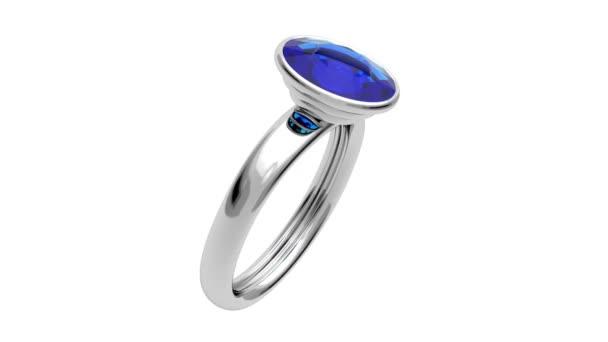 Platinum ring with blue diamond