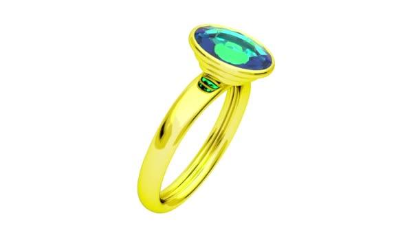 zlatý prsten se zeleným diamond