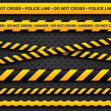 Police line and danger tapes on dark background stock vector