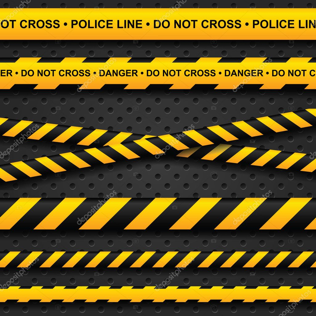 Police line and danger tapes on dark background