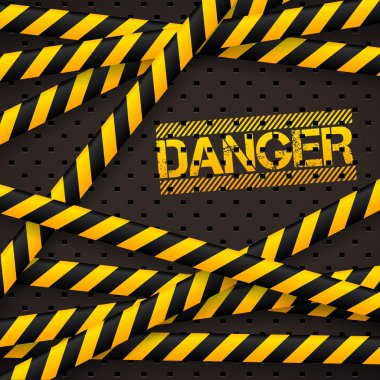 Danger sign under police lines and danger tapes