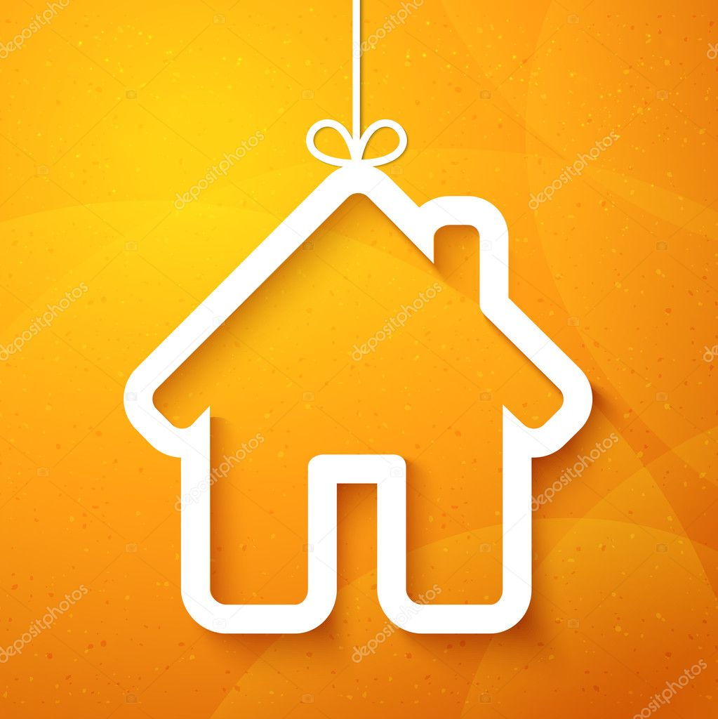 Paper house on orange. Christmas applique background