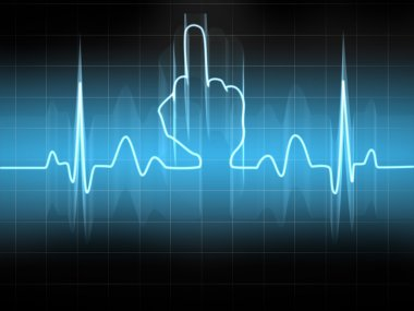 Abstract heart beats cardiogram illustration Middle finger Sign stock vector
