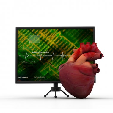 Human heart with ECG heart beat monitor stock vector