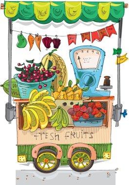 Cart with fruits - cartoon