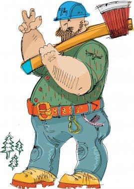 Logger with ax - cartoon
