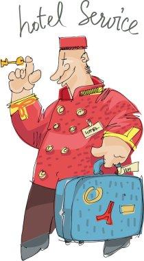 Hotel service - porter - cartoon