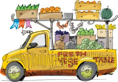 Vehicle full of fruits and vegetables - cartoon