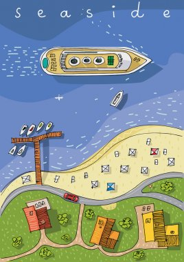 Top view of coastline - cartoon