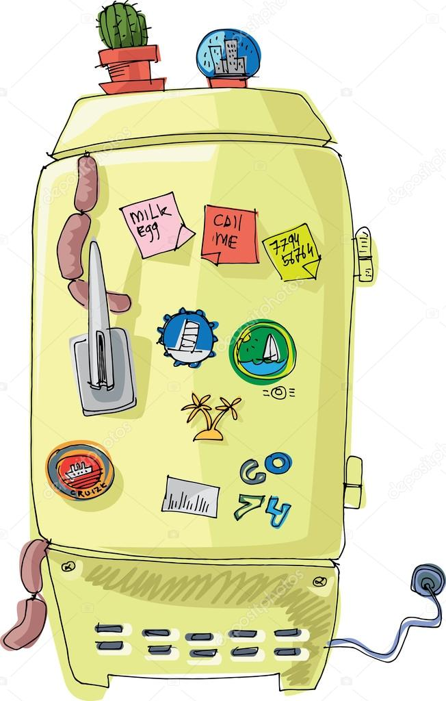 Vintage Fridge With Magnets And Sticker Cartoon Stock