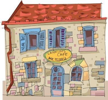 Bretagne France - vintage facade - cartoon