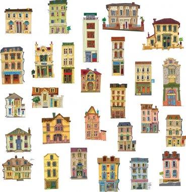 Set of vintage facades - London - cartoon