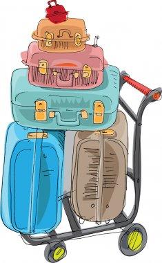 Pile of luggage - cartoon