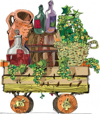 A vintage wooden cart filled with grapes and vine - cartoon