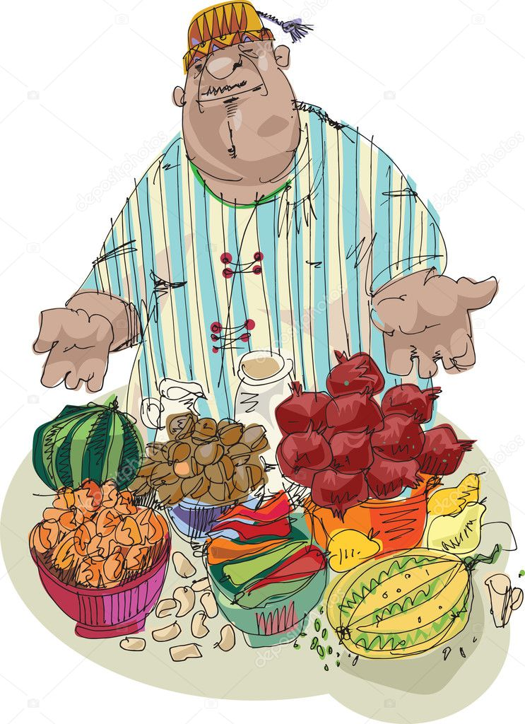 Eastern market - vendor - cartoon