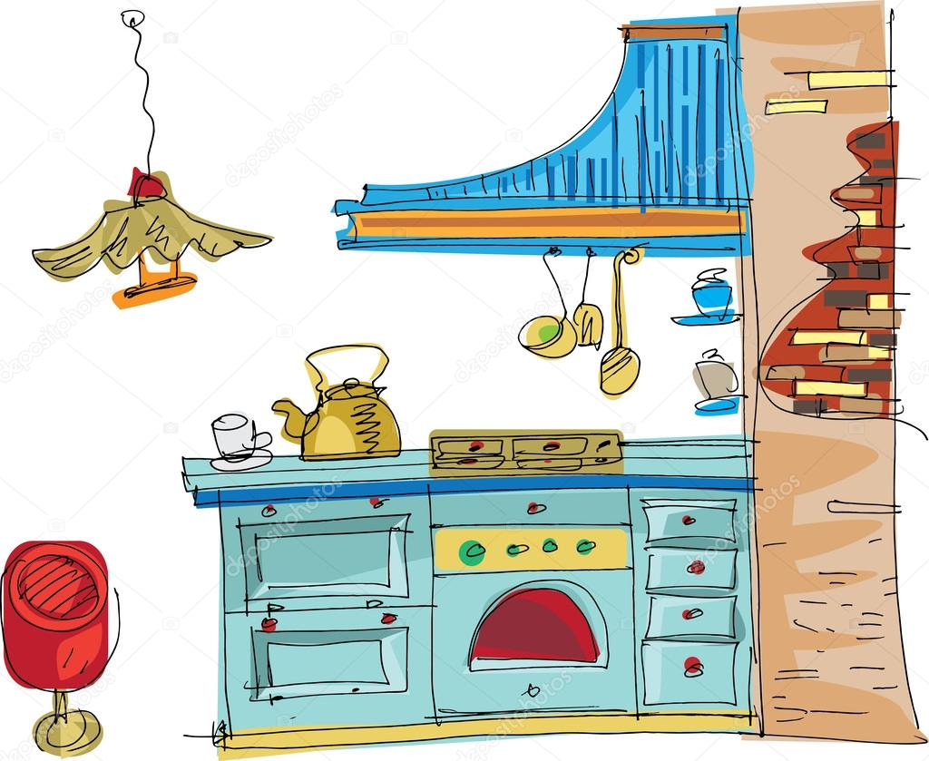 Cocina vintage dibujos animados archivo im genes for Dibujos de cocina