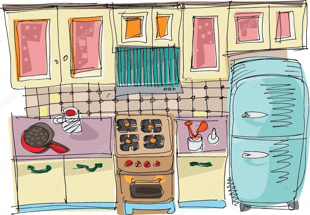 Dibujos Cocina Animados Cocina Dibujos Animados Vector De