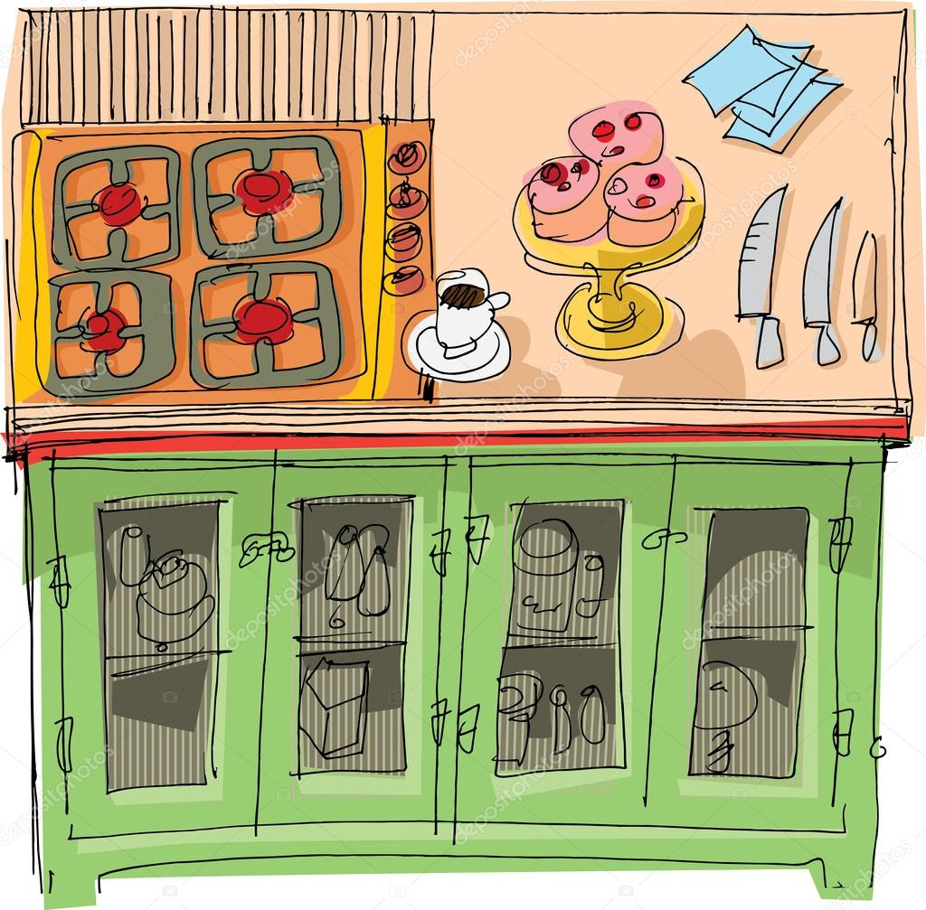 Küche - Cartoon — Stockvektor © iralu1 #32386109