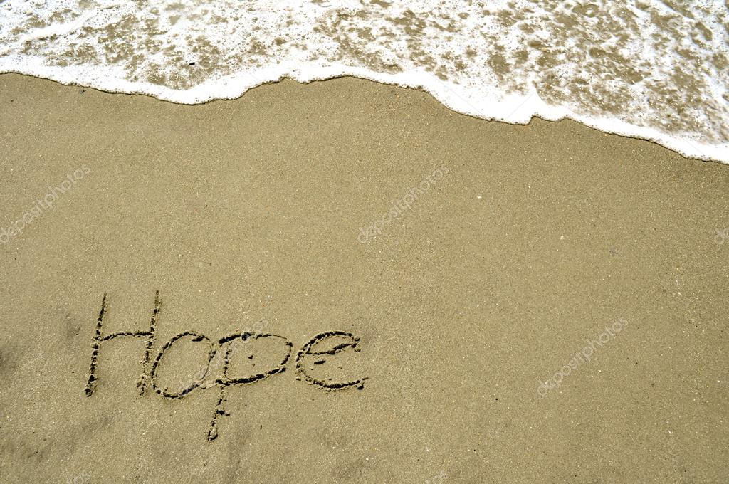 Hope in the sand stock vector