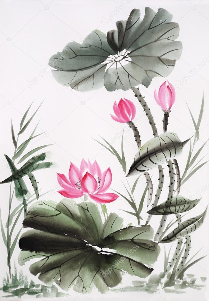 peinture aquarelle de la fleur de lotus photographie. Black Bedroom Furniture Sets. Home Design Ideas
