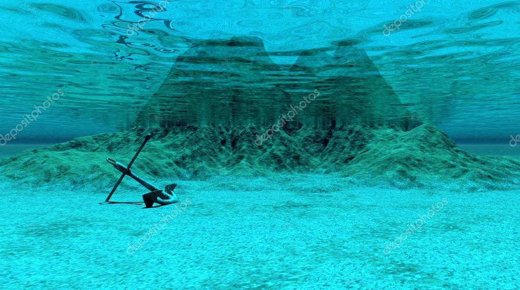 Underwater scene with anchor