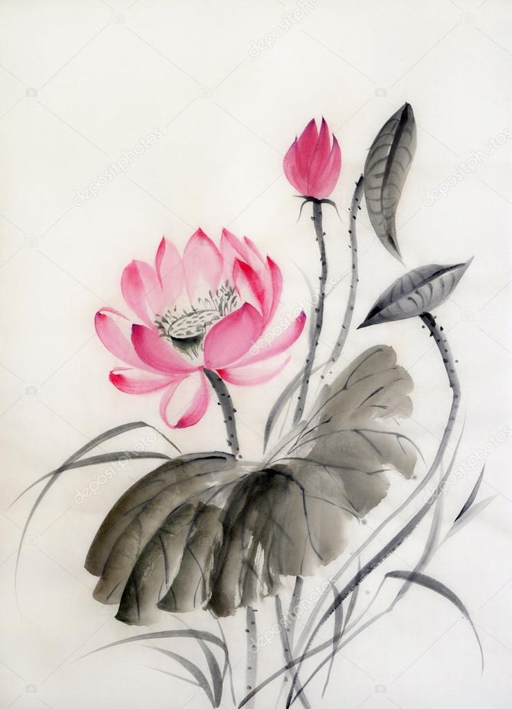 Watercolor painting of lotus flower