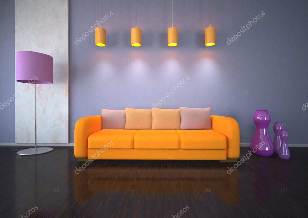 paars oranje interieur ontwerp — Stockfoto © limbi007 #19622421