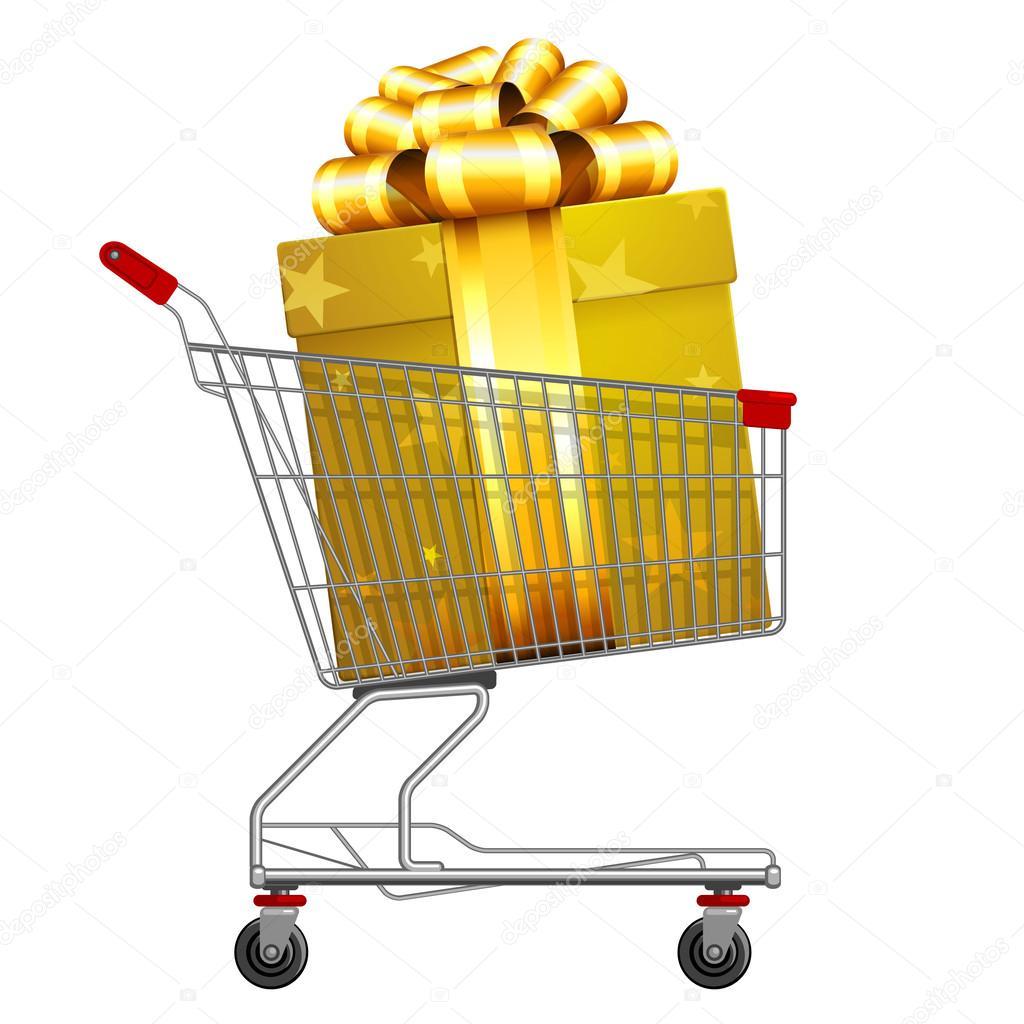 Carrinho cheio de presentes do dia de compras de supermercado — Vetores de  Stock bdabaae2525f2