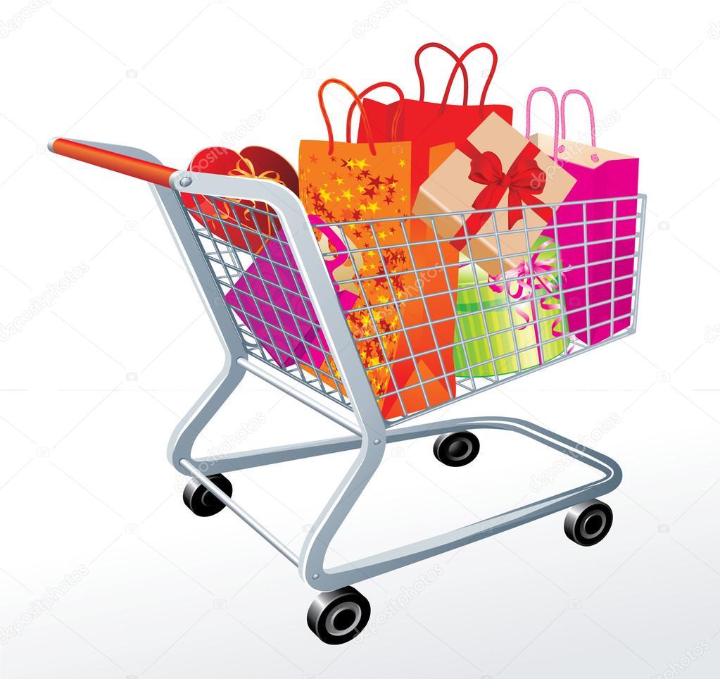Carrinho cheio de presentes do dia de compras de supermercado — Vetor de  Stock 65ee754de09ab