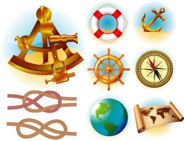 Marine traveling icon and symbols vector set.